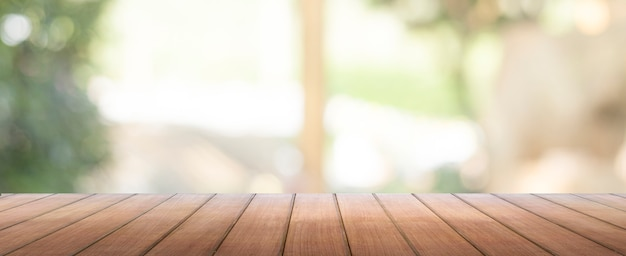 Panoramic background of wood table top