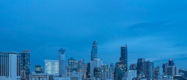 Panoramic of bangkok city skyline at night