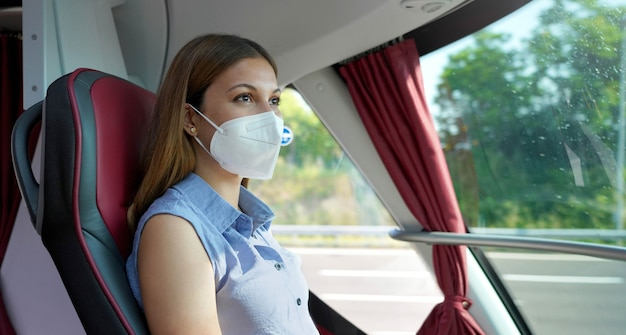 Panoramic banner of young woman with kn95 ffp2 protective face mask looking through bus window during her journey