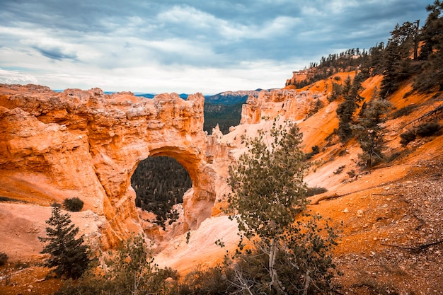Panoramic in the beautiful the arch grand escalante in bryce national park. utah, united states