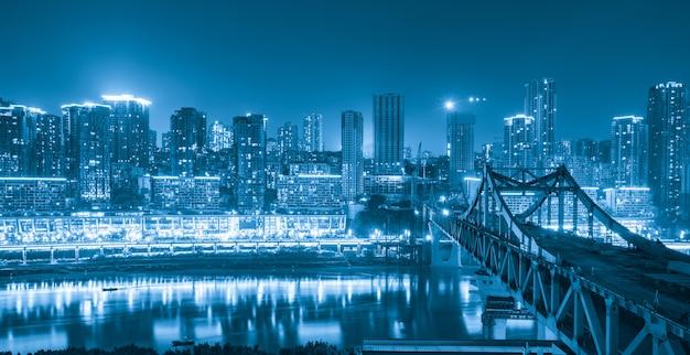 Panoramic city scenery, beautiful night view of chongqing city in china
