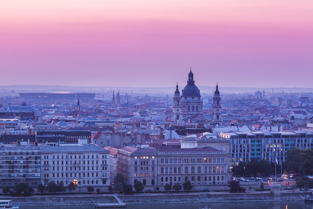 Panoramic cityscape of hungarian parliament building on the danube river