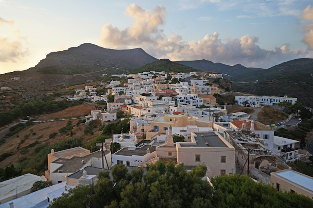 Panoramic evening view of village of chora