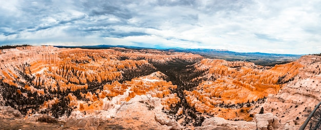 Panoramic from inspiration point in bryce national park. utah, united states
