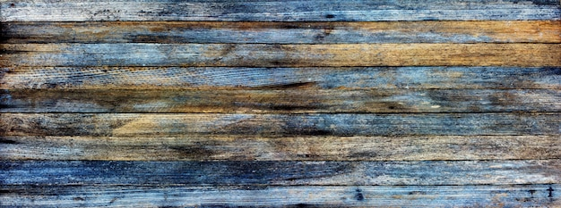 Panoramic grunge background of old wooden planks