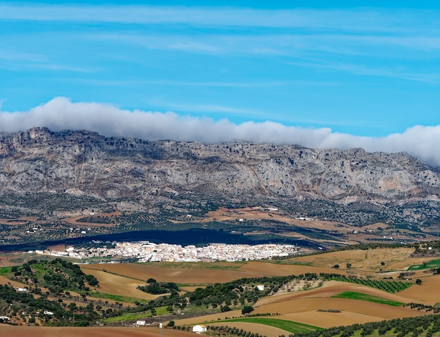 Panoramic high angle view of city of antequera.