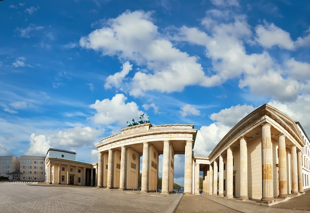 Panoramic image of brandenburg gate in berlin, germany, on a bright day