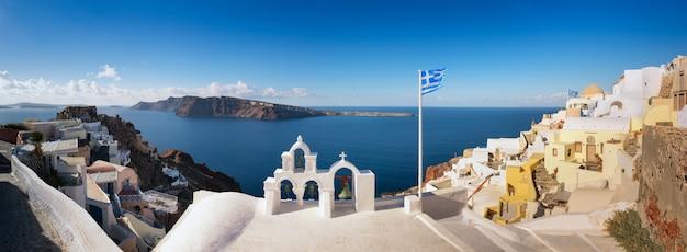 Panoramic image if oia village, santorini island, greece