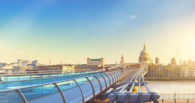 Panoramic image of millenium bridge and st. paul's cathedral in london