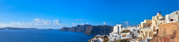 Panoramic image of oia village, santorini island, greece