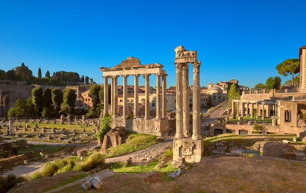 Panoramic image of roman forum, or forum of caesar, in rome