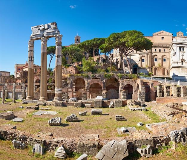 Panoramic image of roman forum in rome, italy