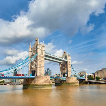 Panoramic image of tower bridge in london on a bright sunny day