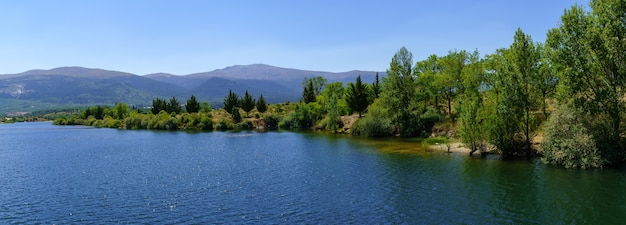 Panoramic lake landscape in the mountains with trees and green vegetation