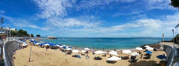 Panoramic landscape of the urban beach of porto da barra in salvador bahia brazil.