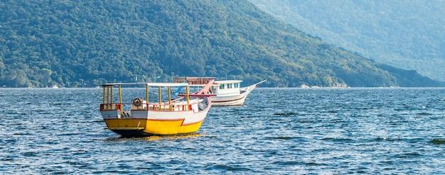 Панорамный пейзаж с лодками на озере в бразилии