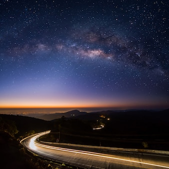 Panoramic milky way at doi inthanon, chiang mai , thailand , low light , high iso