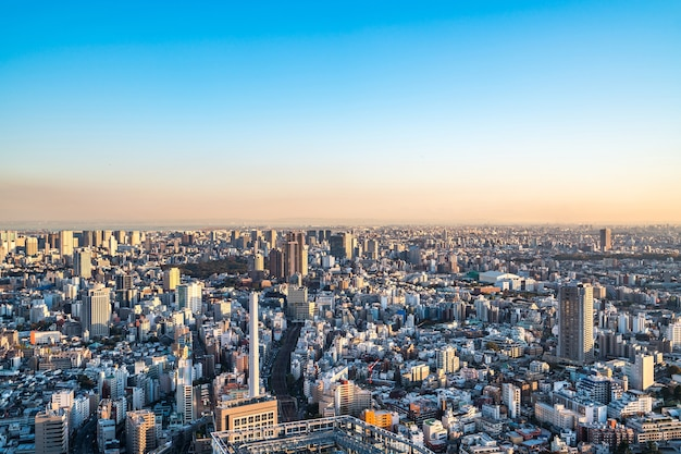 Panoramic modern city skyline bird eye aerial view in shibuya sky tokyo japan
