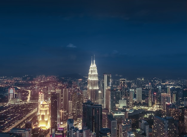 Panoramic night scene of kuala lumpur malaysia asia image is ideal for background toned image