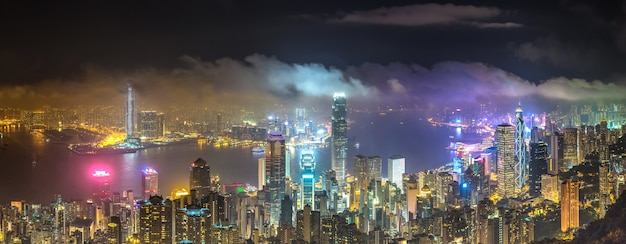 Panoramic night view of hong kong business district