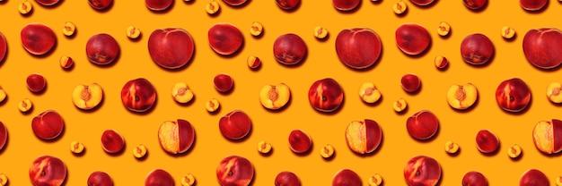 Panoramic peach background, set of ripe nectarines