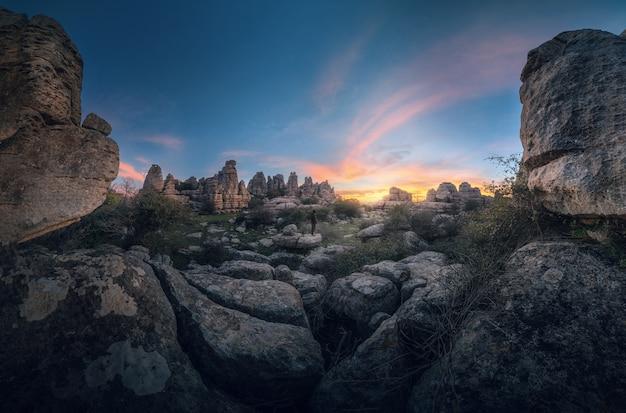 トルカル・デ・アンテケラの日の出のパノラマ写真