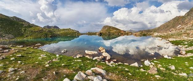Panoramic photos spring valley caucasus mountains