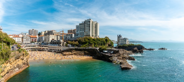Panoramic of plage du port vieux in biarritz, summer holidays in the south-east of france