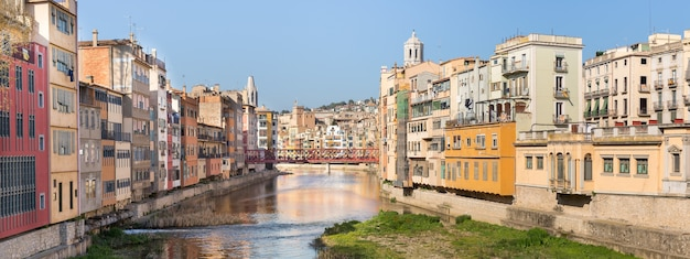Panoramic of the river as it passes through the old town of girona