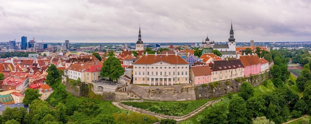 Panoramic  shot of the beautiful city of tallinn in estonia
