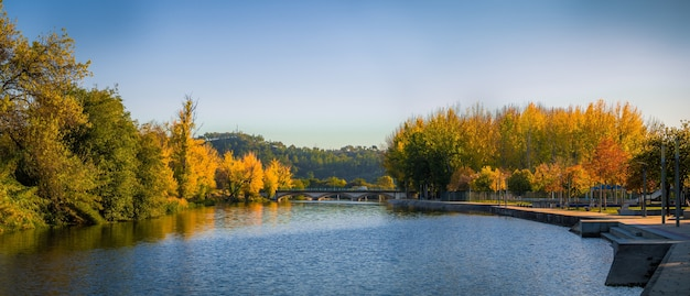 Panoramic shot of a beautiful lake at ponte de sor in portugal