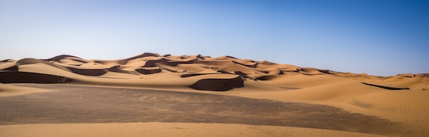 Panoramic shot of the erg chebbi dunes, the sahara desert, merzouga, morocco