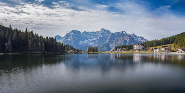 Panoramic shot of the lake lago di misurina with reflections in the italian alps