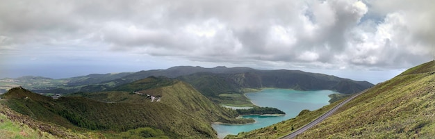 Panoramic shot of landscape over the  lagoa do fogo