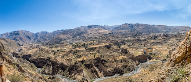 Panoramic shot of the magnificent colca canyon captured in peru