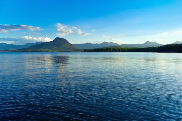 青い空を映す静かな湖のパノラマ写真
