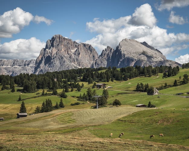 Panoramic shot of plattkofel mountain in compatsch italy