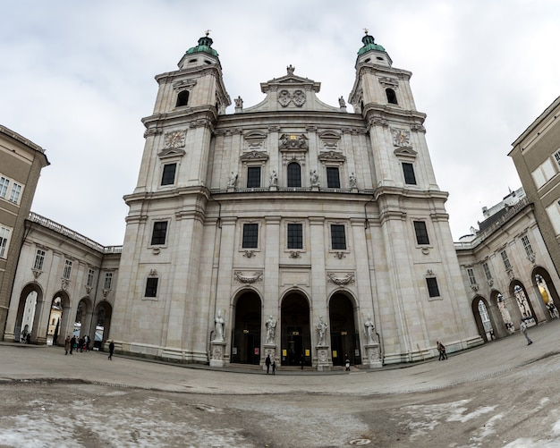 Panoramic shot of salzburg cathedral (salzburger dom) on a cloudy day