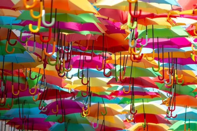 Panoramic shot of a sea of colorful hanging umbrellas