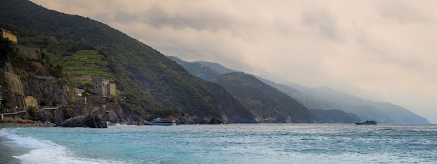 Panoramic shot of the seaside village of monterosso al mare in the italian riviera in italy