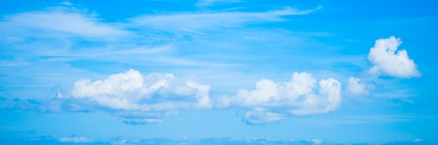 Panoramic sky with white clouds. blue sky background