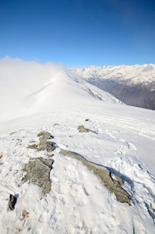 Panoramic snowy ridge