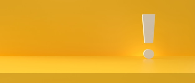 Панорамная студийная фотография на желтом фоне с белым восклицательным знаком. 3d-рендеринг.