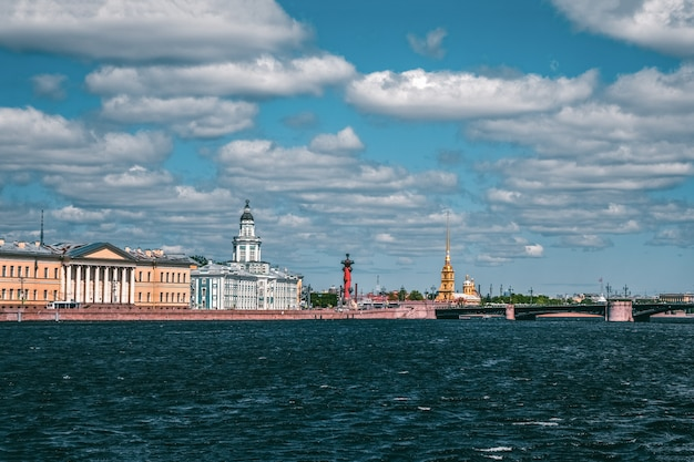 Panoramic summer view of st. petersburg from the neva river