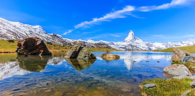 Panoramic summer view of stellisee lake with reflection of matterhorn on water