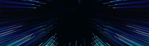 Панорамный технический фон, соединенные точки и светодиодные линии, слайд технологической презентации, вечеринка с плакатами. 3d-рендеринг.