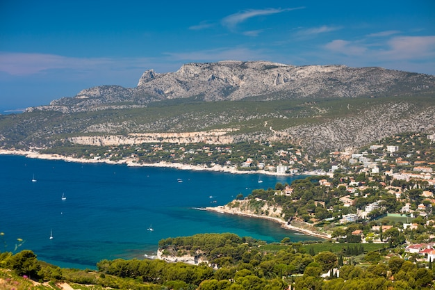 Panoramic top view of the cassis coastline from the route des cretes in provence france