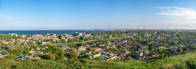 Panoramic top view of the industrial district of odessa, ukraine