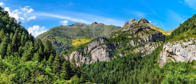 ピレネー山脈、オルデサの高い山と森のあるパノラマの谷の風景。休息、レジャー、そして美しさ。