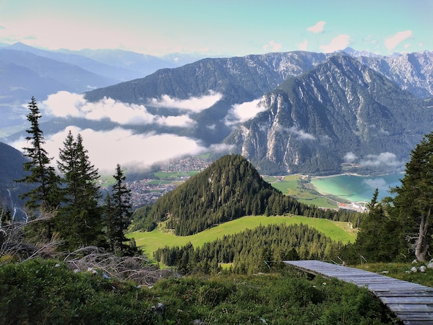 Panoramic view of the achensee in tyrol